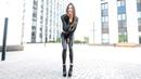 Girl Black boots leather Leggings jacket high heels long legs