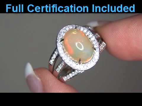 Rare Welo Mined Ethiopian Opal Diamond Cocktail Ring Solid 14K Gold Full Play Of Color,