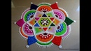 Very easy and attractive multicolored kolam for festivals Rangoli by Poonam Borkar