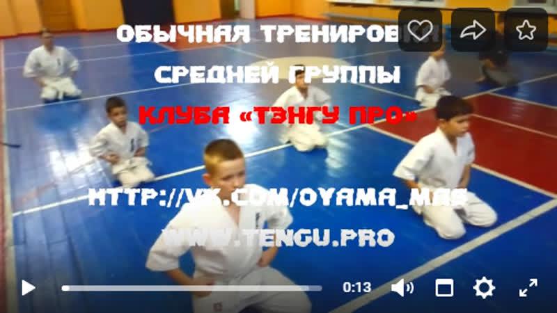 Обычная тренировка Кёкусинкай Карате средней группы 9 11 лет Клуба Тэнгу Про Мурманск oyama mas