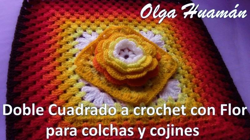 Doble Cuadrado a crochet con Flor para colchas y cojines TEJIDOS OLGA HUAMAN