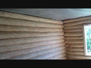 Выравнивание стены в деревянном доме-Дачники