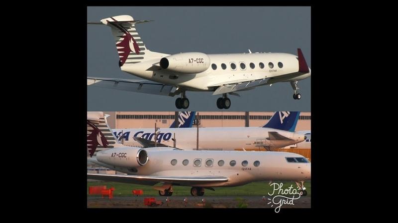 ✈✈カタール・エグゼクティブ Qatar Executive Gulfstream Landing and takeoff Narita RWY16R 成田空港 さくらの山