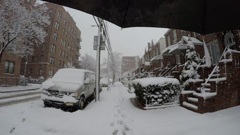 ⁴ᴷ April 2 2018 Snow storm walk from Astoria to Long Island City