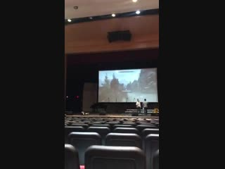 We were able to use the projector in the school auditorium to play Skyrim. (small senior to scale)