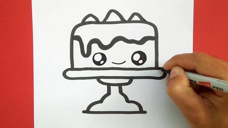 How to draw a Supper Cute Cake step by step easy, Draw cute for kids
