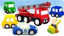 4 сoches coloreados Los vehículos de servicio Dibujos animados
