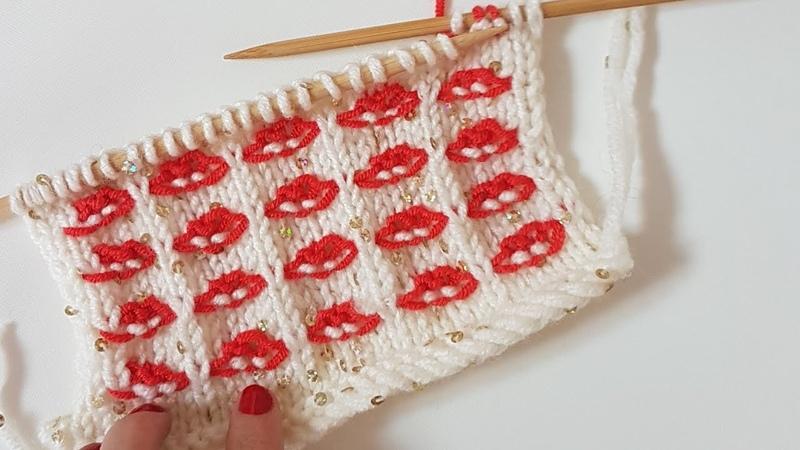 Öpücük Bulut Örgü Kisses Stich Knitting İki Renkli Örgü