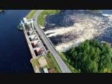 Летаю над шлюзом Беломорканала (п. Выгостров). Мощь водосброса на реке Выг с выс