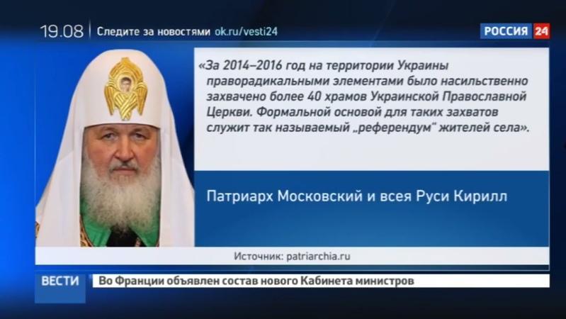 Новости на Россия 24 • Власти Украины намерены регулировать деятельность РПЦ: патриарх Кирилл бьет тревогу