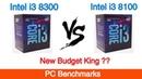 Intel i3 8300 vs Intel i3 8100 featuring Nvidia GTX 1060 6 GB