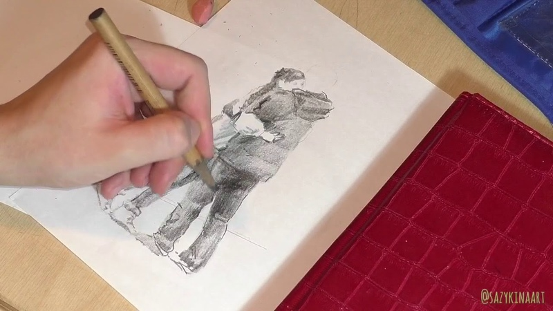 Процесс рисунка карандашом фигуры человека