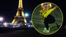Backflipping in front of the Eiffel Tower