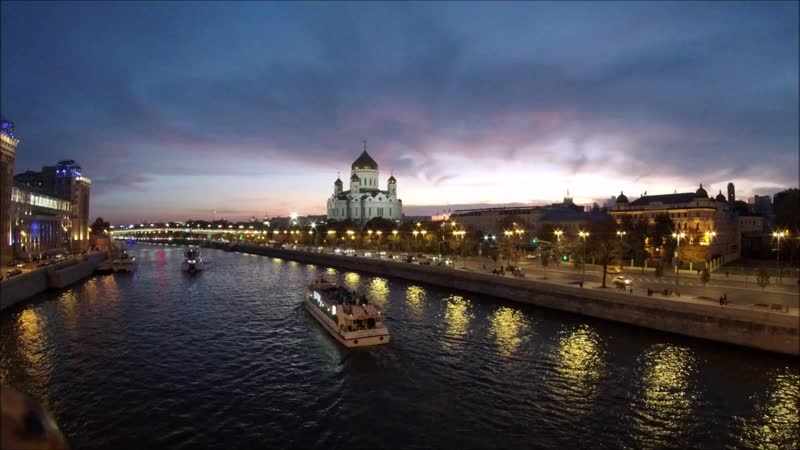 Закат Над Храмом Христа Спасителя Timelapse
