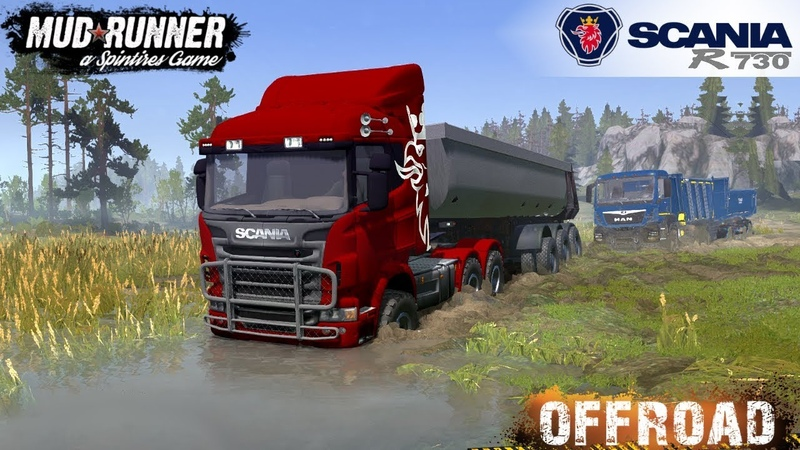 Spintires MudRunner - SCANIA R730 Pulls out of the Mud Stuck Dump Truck