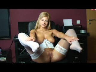 Pretty blondie in shiny white stcoking