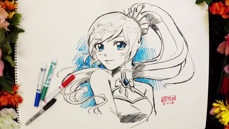 Were joined by @ErinMWinn, Lead Concept Artist on RWBY, whos drawing Weiss for day 18 of Inktober!