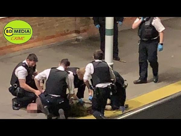 Man 'wielding Huge Machete' tasered by police - Tulse Hill Station, London