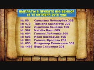 ВЫПЛАТЫ В ПРОЕКТЕ BIG BEHOOF ЗА 15.10