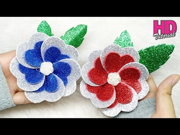 DIY - Cara membuat bunga cinta    How To Make Glitter Foam Sheet