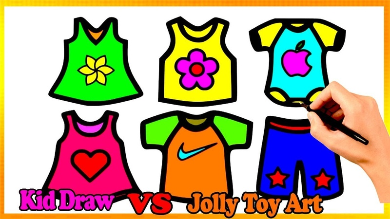 Coloring 6 children's clothes | Painting for toddlers and drawing for kids Vs Jolly Toy Art ☆ 247