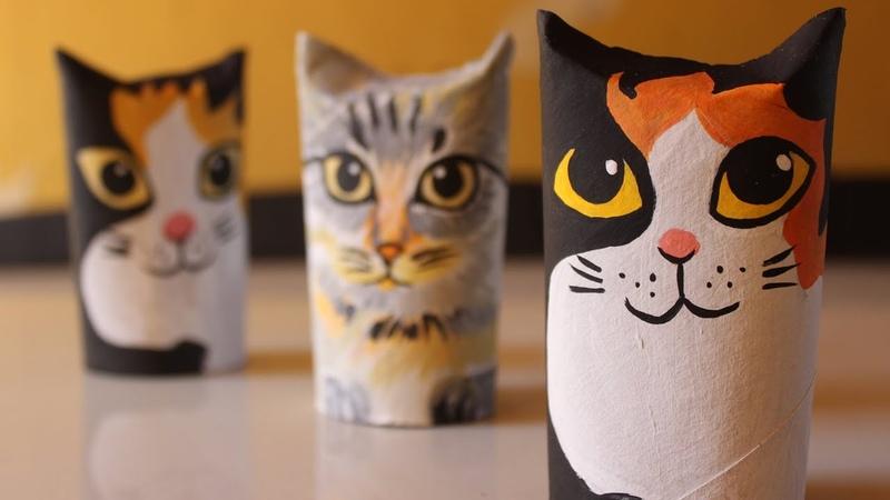 Gatinho Enfeite de rolinho de papel higiênico - gato de rolinhos DIY