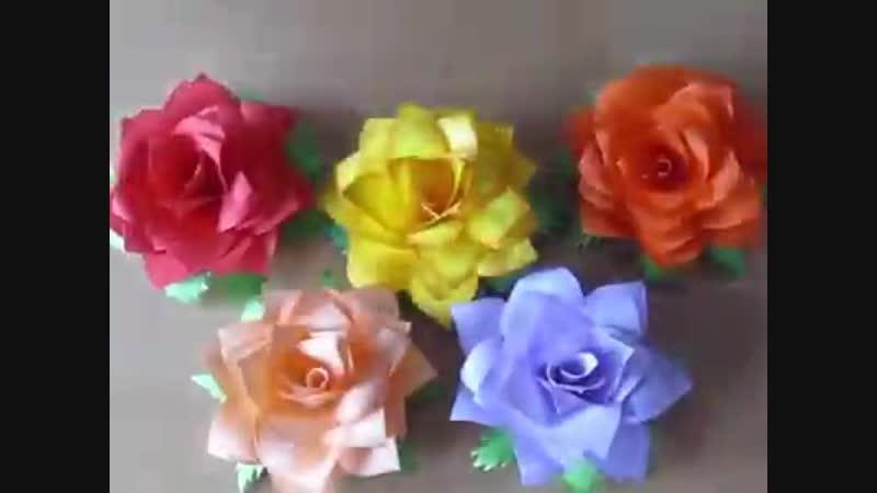 Красивые цветы из бумаги для заметок