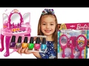 Dominika plays with Nail polish brings beauty video for kids