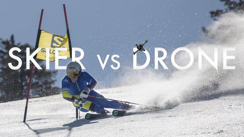 Salomon TV   Skier vs Drone
