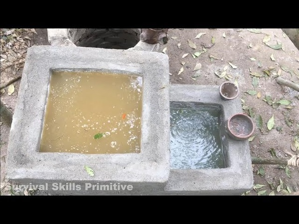 Primitive technology searching for groundwater and water filter (water well and tank) full