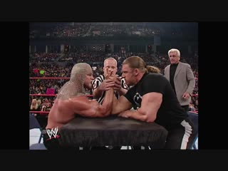 WWE Monday Night Raw 23rd December 2002 - Scott Steiner humiliates Triple H in an arm wrestling match