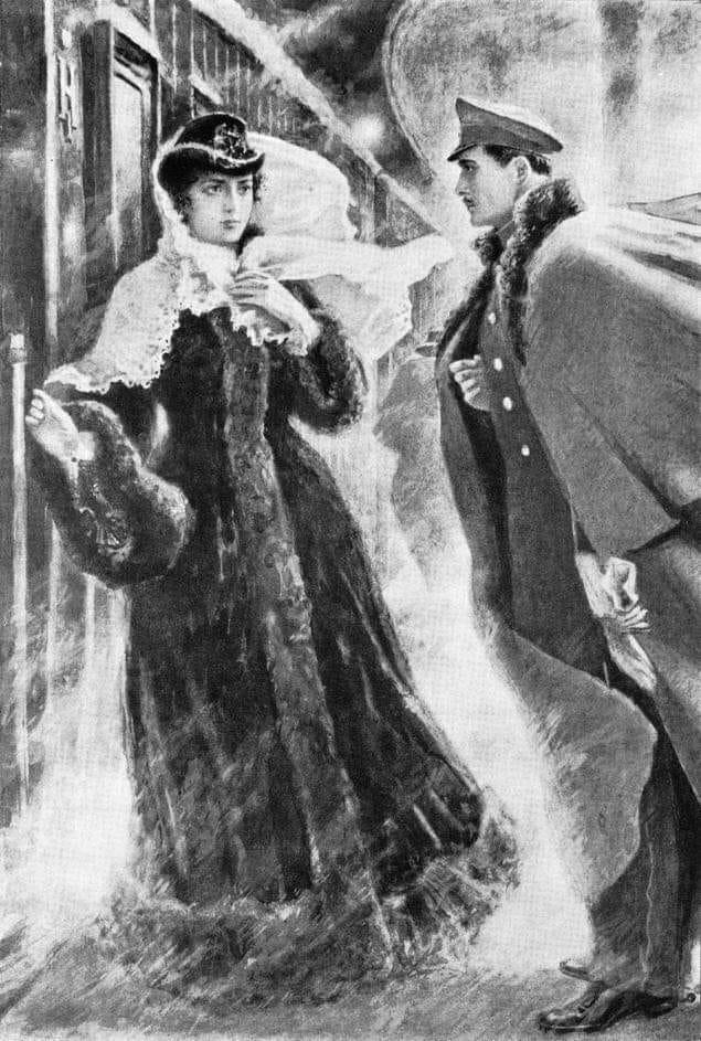 У Куприна есть рассказ о даме, которая ехала с жестоким и грубым мужем в поезде....