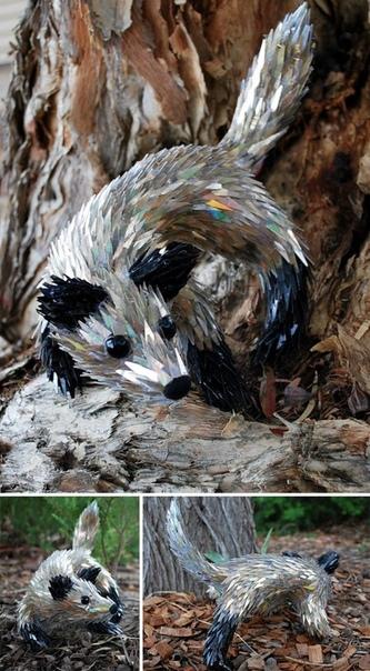 Потрясающие скульптуры животных, созданные Шоном Эвери из компакт-дисков