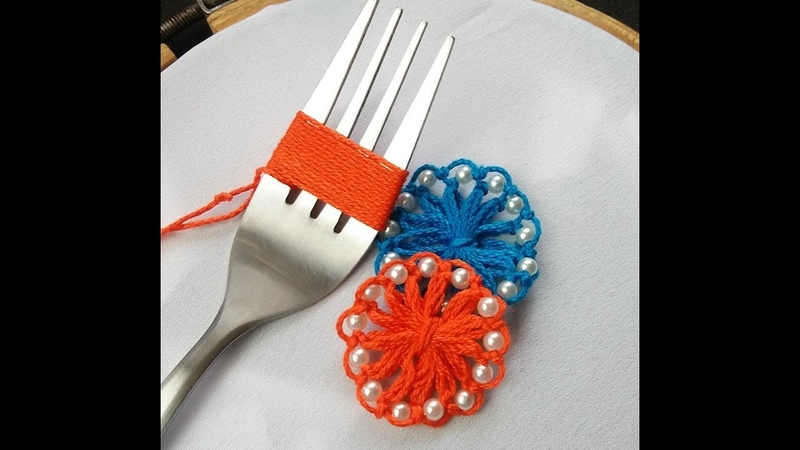 Hand Embroidery Amazing trick sewing Hack With Fork Flower Embroidery With Fork Sewing Hack