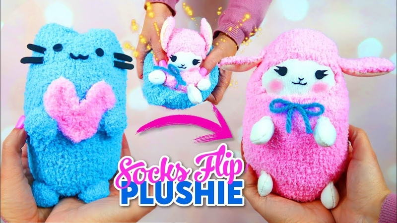 DIY VIRAL REVERSIBLE PLUSHIE WITH SOCKS Pusheen cat kawaii sheep Cute Budget Xmas Gift Ideas