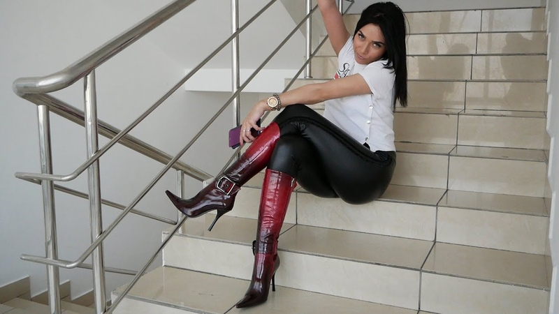 Kristina's pointy high heels MATIVI red patent leather boots Size EU 38 US 7 5