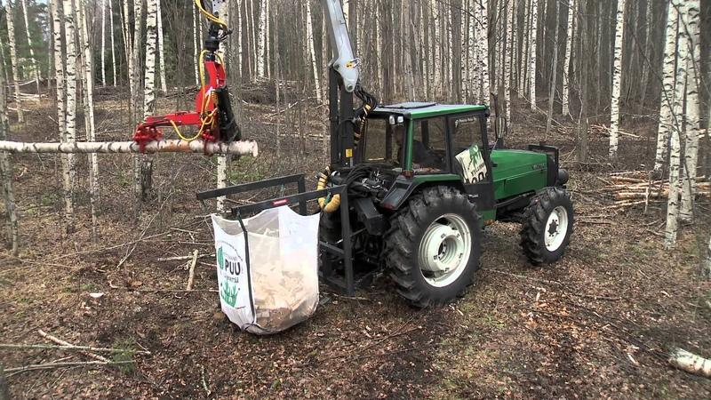 Naarva S23 ja polttopuun teko säkkiin Naarva S23 harvester and firewood processor