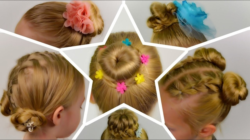 6 SIMPLE and BEAUTIFUL HAIR BUNs || SUMMER Hairstyles. Compilation of hairstyles 6