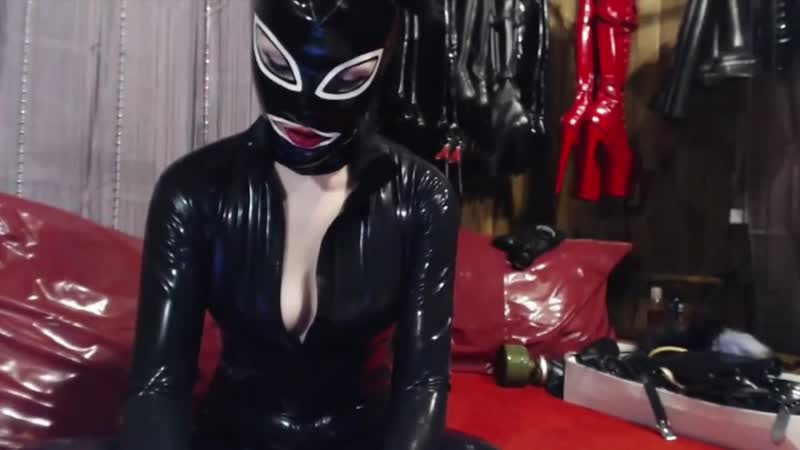 Latex catsuit girl in mask