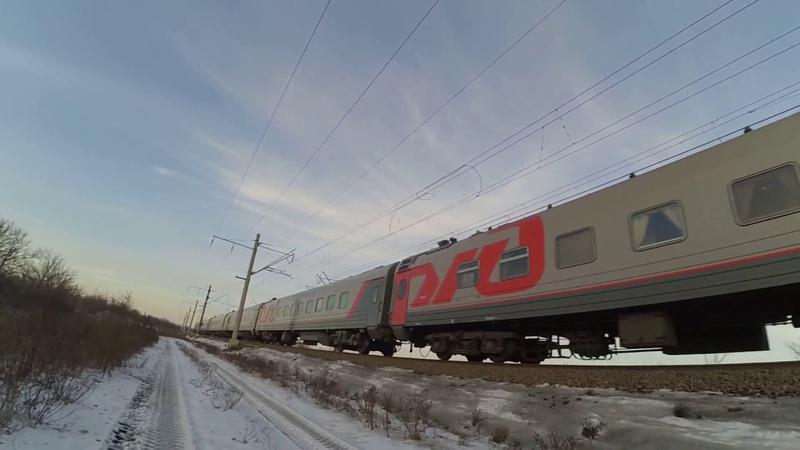 Электровоз ЭП1М-555 с поездом №34 Москва - Владикавказ