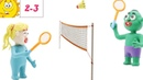 POP PLAYDOH - BADMINTON BATTLE - PLAYDOH CARTOON FOR KIDS