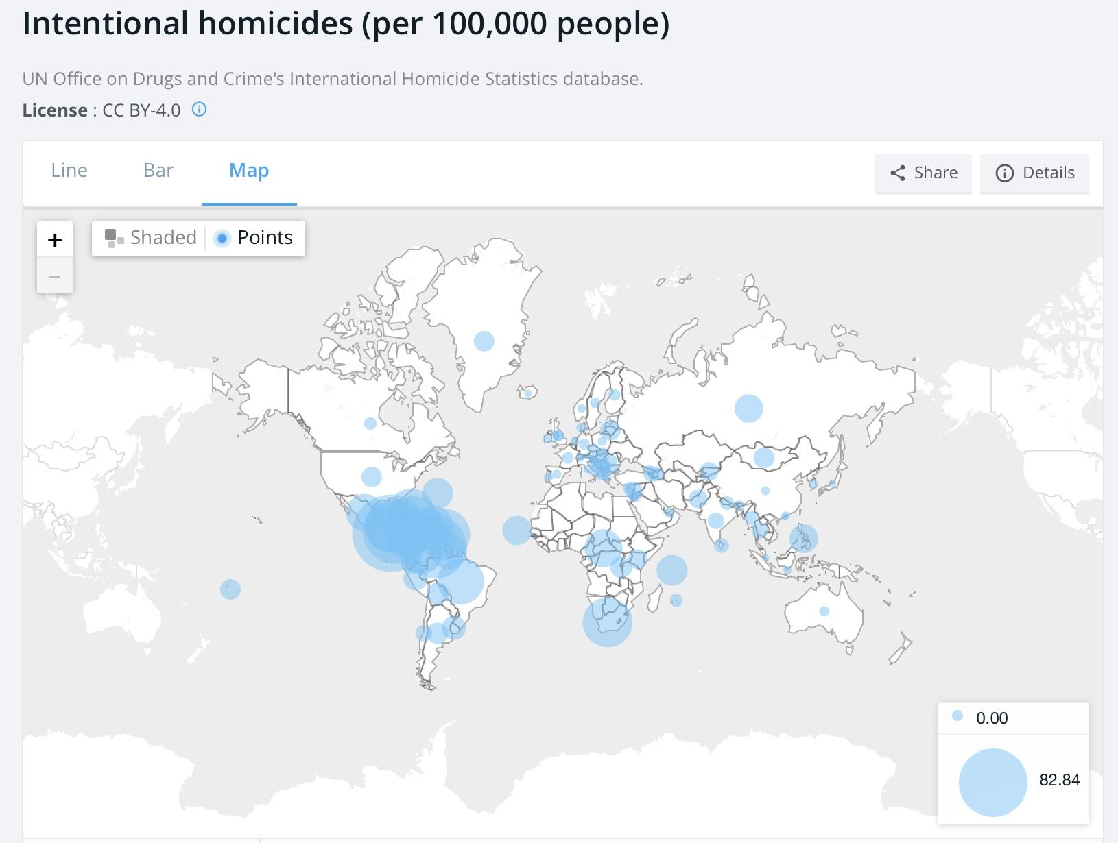 9f048f8aa2f8 Количество убийств на 100 000 жителей (практически везде приведены данные  за 2016г)