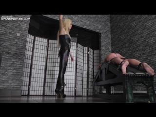 Hard caning by hot young blonde mistress in leather