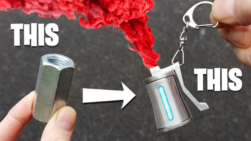 REAL FORTNITE Colored SMOKE Keyring Made from Nut Bolt