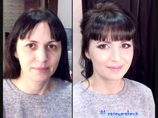 Ксения Саватеева. Яркий новогодний макияж и нежный пучок (до и после)