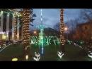 Световой фонтан и новогодняя ель.Светопарк. Лунный Свет.