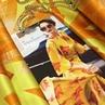 Итальянский шелковый атлас с эластаном в желто-оранжевом цвете с геометрией и цветами. ⭐️Ширина: 140см ⭐️Состав: шёлк 96%, эласт