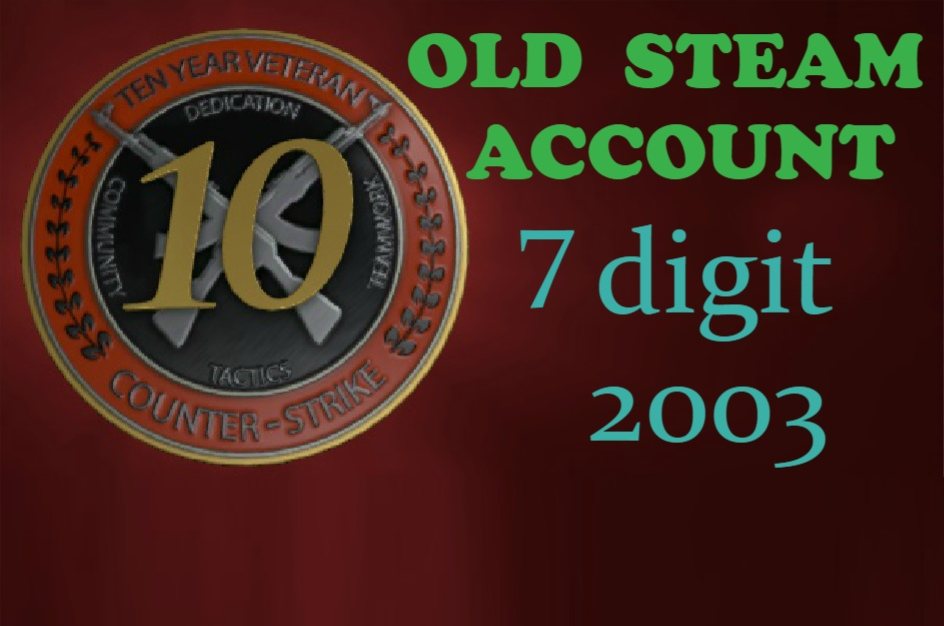 OLD STEAM ACCOUNT 2003y 7 digits     ‌‌‍‍HL Platinum Pack + original email