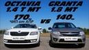 Мощная Гранта или Турбо ШКОДА!? Skoda Octavia A7 1.4T vs Granta Sport. Гонка