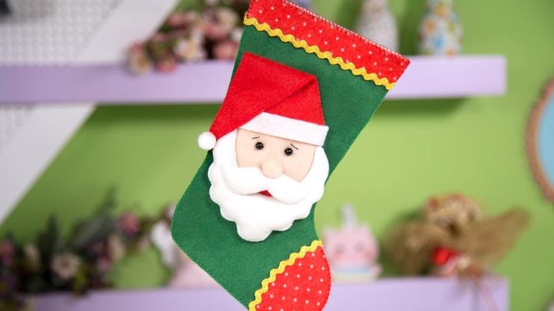 🔴 Botinha de Natal em Feltro - Passo a Passo Molde